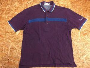 Paradiso パラディーゾ ブリヂストン スポーツ ゴルフ レトロ古着 半袖ポロシャツ メンズ 刺繍 日本製 L 紫