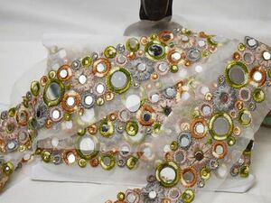 インド刺繍リボン ミラーワーク 鏡 花 白レース ベージュ グレー 黄緑 茶色