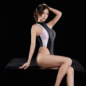 超セクシー 伸縮性に優れ スベスベ 光沢 スクール水着 スク水 競泳 ハイレグレオタード レースクイーン コスプレ RT340/ブラック