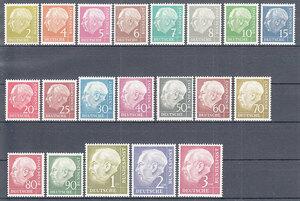 西ドイツ 1954年未使用NH 普通切手/連邦大統領/ホイス#177x-196x