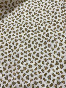 綿100% 生地 白 黄色 ペーズリー 織地