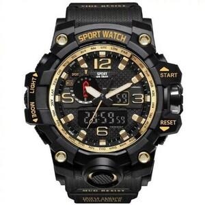 ★☆注目商品☆★デジタルスポーツ腕時計 ミリタリーアーミーメンズウォッチ Led アナログ自動腕時計 ゴールド 人気