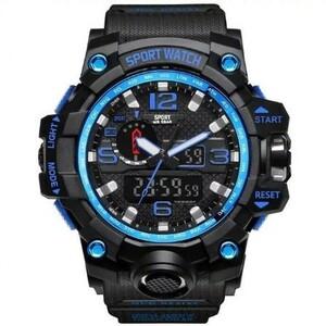 ★☆注目商品☆★デジタルスポーツ腕時計 ミリタリーアーミーメンズウォッチ Led アナログ自動腕時計 ブルー