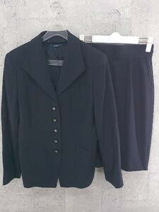 ◇ ROPE ロペ 膝丈 シングル スカート スーツ セットアップ 上下 サイズ9 ネイビー レディース 1002800843350