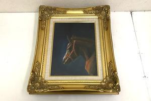 稗田善彦 真作【仔】4号 1993年 元JRA調教師馬の画家 馬 絵画 額装(幅414mm高さ507mm厚さ95mm)銀座三越購入時箱付き