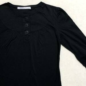 Lapis beams ビームス 前ボタン 七分袖 Tシャツ カットソー 黒 美品 管理B350