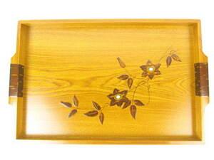 くさ忠 工芸品 WOOD CRAFT お盆 トレー 長方形 天然木 桜皮貝入鉄仙 日本製 E537