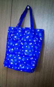 未使用☆Hello Kitty サンリオ キャラクター トートバッグ エコバッグ ショッピング ノベルティグッズ コレクション ホビー ブルー 青山