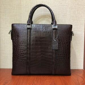 クロコダイル ワニ革 本革 レザー A4/PC対応 斜め掛け ショルダーバッグ ハンドバッグ ブリーフケース トート ビジネスバッグ 通勤用 鞄