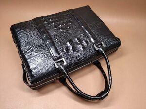 ワニ革 クロコダイル レザー 本革 背部分 大容量 A4/PC対応 ビジネス 鞄 ブリーフケース 出張用 通勤 旅行 メンズ ハンドバッグ プレゼント