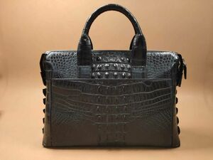 ワニ革保証 クロコダイルレザー 本革 大容量 A4/PC対応 ビジネス 鞄 ブリーフケース 出張用 通勤用 トート メンズ ハンドバッグ プレゼント