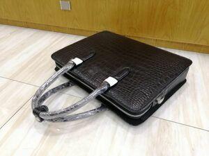 ワニ革 クロコダイル レザー 本革 斜め掛け トート ショルダーバッグ A4/PC対応 通勤用 ブリーフケース 鞄 メンズ ビジネス ハンドバッグ