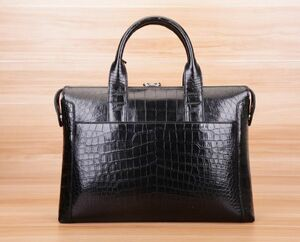 ワニ革保証 クロコダイル レザー 本革 腹部革 大容量 ブリーフケース ビジネス 手提げ トート 通勤用 鞄 A4/PC対応 メンズ ハンドバッグ
