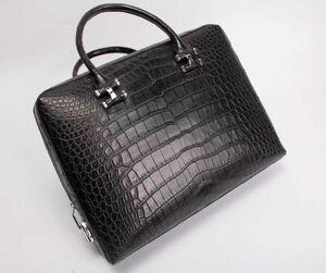 クロコダイルレザー ワニ革 本革 大容量 手提げ ブリーフケース ビジネス ハンドバッグ A4/PC対応 通勤用 出張用 鞄 メンズ トートバッグ