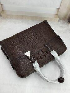ワニ革保証 クロコダイル レザー 本革 2way 鞄 斜め掛け トート ショルダーバッグ A4/PC対応 ブリーフケース 通勤 ビジネス ハンドバッグ