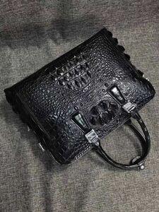 ワニ革 クロコダイル レザー トート 斜め掛け ショルダーバッグ 本革A4/PC対応 通勤用 ブリーフケース 鞄 メンズ ビジネス ハンドバッグ