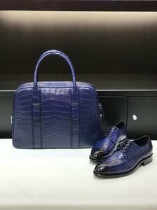 ワニ革 クロコダイル レザー 本革 斜め掛け ショルダーバッグ ビジネス A4/PC対応 通勤用 ブリーフケース メンズ トート ハンドバッグ 鞄