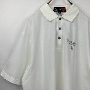 【新品未使用】Le coq sportif GOLF ルコック ゴルフコレクション ドライ 半袖 ポロシャツ 白 ロゴ刺繍
