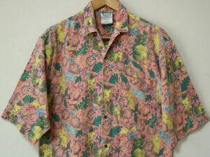 80s ビンテージ PCH PACIFIC COAST HIGHWAY メンズ オープンカラー 半袖 シャツ US- S (日本のXL程度) ココナッツボタン トロピカル 桃