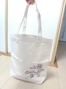 帆布 エコバッグ トートバッグ 生成り色 男女兼用(ピアべルピア化粧品ノベルティ)