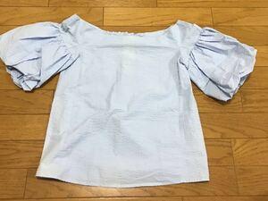 送料無料■H&M ライトブルー ボートネック 半袖 バルーン袖 カットソー サイズ32