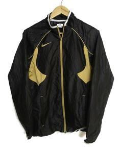 ナイキ NIKE 黒 × 金 S ジャージ スウォッシュロゴ ジャケット 薄手 シャツ メンズ ウエア ジップ トラックジャケット ブラック ゴールド