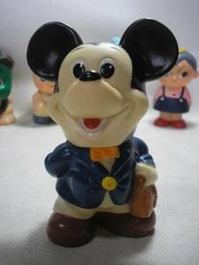 ●レトロディズニー●ミッキーマウス 三菱銀行ソフビ貯金箱  #非売品#昭和レトロ#当時物#企業物