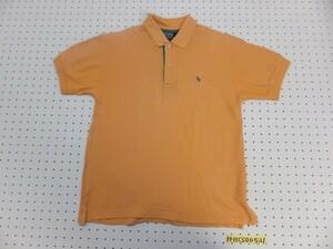 〈送料280円〉Polo by Ralph Lauren ラルフローレン メンズ ワンポイント刺繍 鹿の子 半袖ポロシャツ S オレンジ