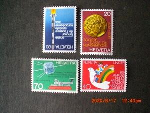 79年スイスの記念切手4種ースイス古銭協会100年他 4種完 未使用 1979年 スイス共和国 VF/NH