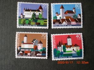 スイスの城シリーズーオロン城他 4種完 未使用 1979年 スイス共和国 VF/NH 愛国寄付金付き