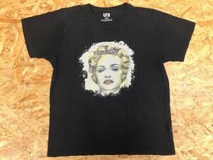 【送料無料】UT UNIQLO MADONNA ユニクロ マドンナ コラボ 掠れ転写プリント Tシャツ 黒 レディース サイズL