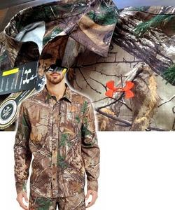 【既決USA】アンダーアーマー★UNDER ARMOUR@胸元&背中刺繍【UA】ロゴ入ハンティングシャツ【UA Realtree Field Hunting Shirt】迷彩柄@XL