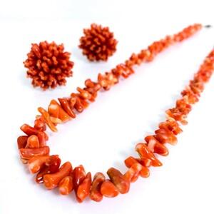 天然血赤珊瑚 ネックレス&イヤリング 総重量 37.63g ネックレス約45cm 宝石サンゴ コーラル Coral A555