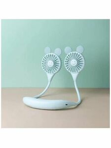 首掛け扇風機 USBファン 360°角度調整 ハンズフリー 3段階風量調節 アロマ機能 超大容量 卓上 熱中症対策 暑さ対策 USB充電式 (ブルー)