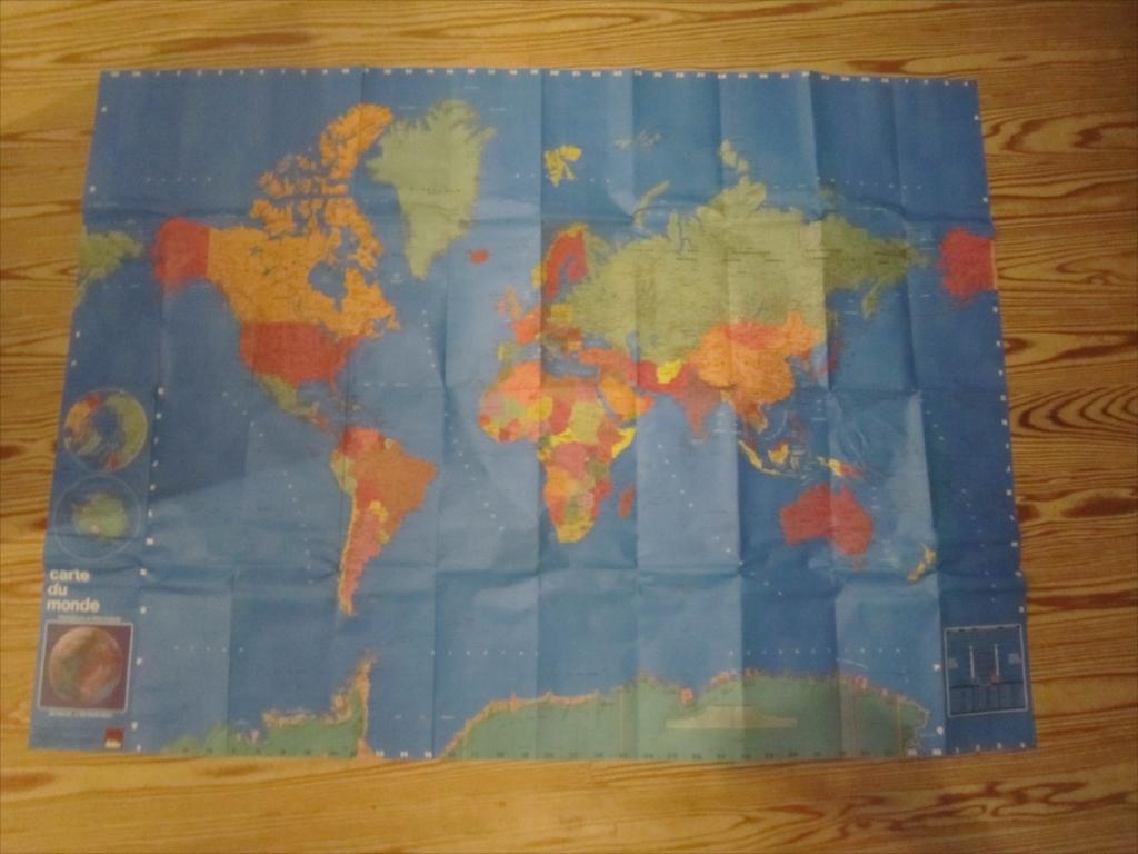 レア 昭和 骨董 世界地図 130×97 recta foldex