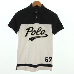 未使用品 ポロ ラルフローレン POLO RALPH LAUREN ポロシャツ 半袖 ワッペン コットン バイカラー ネイビー 紺 ホワイト 白 XS