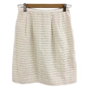 アプワイザーリッシェ Apuweiser-riche スカート 台形 ミニ丈 タック レース ボーダー 刺繍 2 白 ホワイト レディース