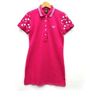 エドウィン EDWIN ポロシャツ ワンピース チュニック 鹿の子 膝丈 袖ハート柄 ラインストーン 半袖 ピンク M 美品 ゴルフ レディース