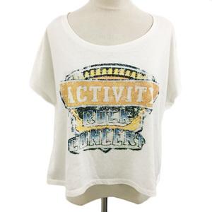 マジェスティックレゴン MAJESTIC LEGON Tシャツ Uネック スタッズ プリント 半袖 Free 白 オレンジ ホワイト レディース