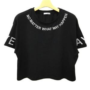 コルザ COLZA カットソー Tシャツ クルーネック 刺繍 プリント 半袖 M 黒 白 ブラック ホワイト レディース
