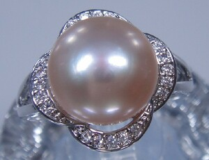 R1533 large grain pink color natural pearl ring 10.2 mm adjustment freedom