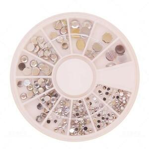 n027【ネイル】12種類樹脂スタッズセット ジェルネイルパーツ 3Dパーツ メタリック丸(2品以上の落札で送料無料)