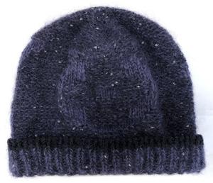 新品同様 ルイヴィトン 帽子 ニット帽 モヘア ボネ パープル系 ラメ入り 紺 メタリック ウール レディース ニットキャップ 女性用 LV
