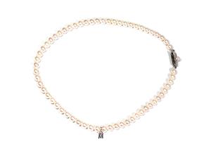 ミキモト パールネックレス アコヤ真珠 パール ネックレス 真珠 5.5-6mm Mチャーム付 MIKIMOTO アコヤパール 美品