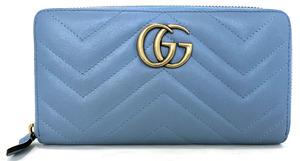 美品 グッチ 長財布 ラウンドファスナー マーモント 443123 水色 ライトブルー ジップアラウンド ジッピー GUCCI レディース レザー