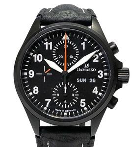 新品同様 DAMASKO 時計 クラシックパイロットクロノグラフ DC56 CLASSIC PILOT ブラック ダマスコ メンズ バルジュー7750 黒