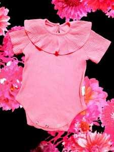 フリル 半袖 ベビー ボディスーツ ロンパース 赤ちゃん服 新生児 60cm リブ コットン ピンク カバーオール ストレッチ 女の子 肌着 綿