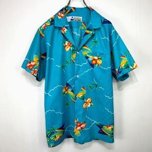 USA製 Shoreline Hawaii アロハシャツ Sサイズ ブルー 青 グリーン 緑 総柄 半袖 シャツ ハワイアン オープンカラー 開襟 虹 ハイビスカス