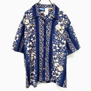 USA製 GOTCHA アロハシャツ Mサイズ ブルー 青 総柄 半袖 シャツ ハワイアン オープンカラー 開襟 ウクレレ ハイビスカス アメリカ