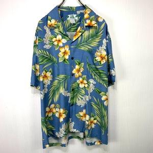 ハワイ製 TWO PALMS アロハシャツ Lサイズ ブルー 青 総柄 半袖 シャツ ハワイアン オープンカラー 開襟 大きい ハイビスカス 花